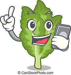 telefono, mascotte, mustrad, verde, islated