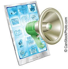 telefono, megafono, concetto, icona
