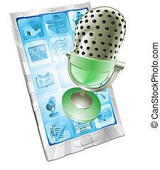 telefono, microfono, concetto, app