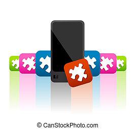 telefono mobile, apps, widgets