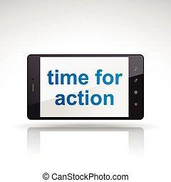 telefono mobile, azione, parole, tempo