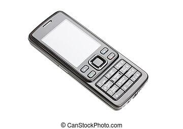 telefono mobile, bianco, isolato, fondo