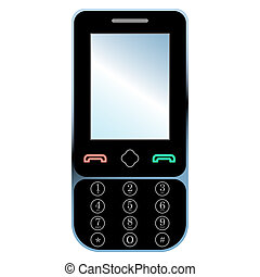 telefono mobile, bianco, isolato