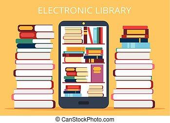 telefono mobile, biblioteca, linea
