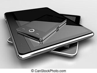 telefono mobile, con, digitale, tavolette