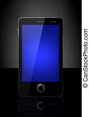 telefono mobile, con, schermo blu