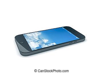 telefono mobile, con, uno, cielo blu