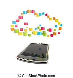 telefono mobile, concetto, nuvola, calcolare