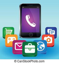telefono mobile, concetto, vettore