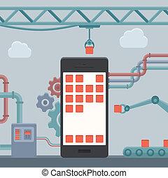telefono mobile, costruzione, concetto