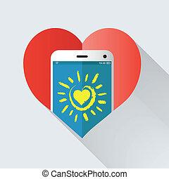 telefono mobile, cuore