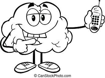 telefono mobile, delineato, cervello