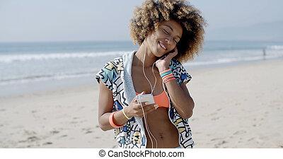 telefono mobile, donna, felice, parlare