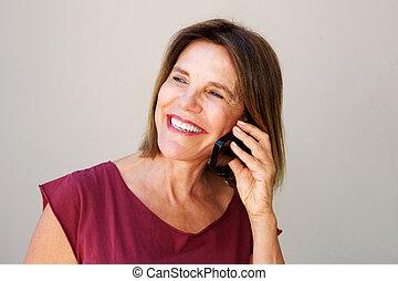 telefono mobile, donna parlando, più vecchio