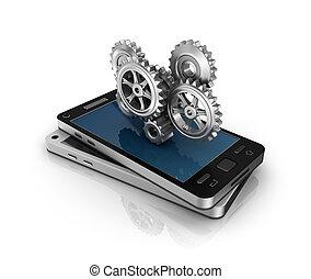telefono mobile, e, ingranaggi