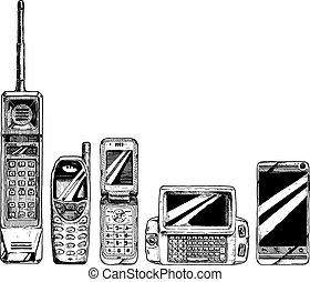 telefono, mobile, evoluzione, set