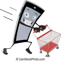 telefono mobile, funziona, con, shoppig, carrello