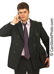telefono mobile, giovane, uomo affari