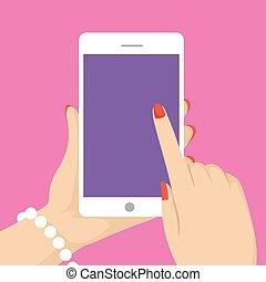 telefono mobile, holding donna, mano