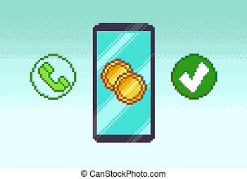 telefono mobile, icone, pixel, blu
