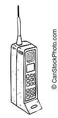 telefono mobile, immagine, cartone animato