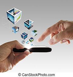 telefono mobile, in, mano, flusso continuo, 3d, immagini
