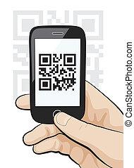telefono mobile, in, maschio, mano, scansione, qr, codice