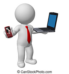 telefono mobile, laptop, uomo affari