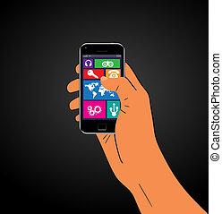 telefono mobile, mano., vettore, illustrazione