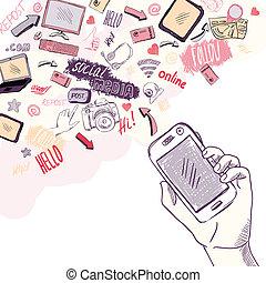 telefono, mobile, media, mano, domande, presa a terra, sociale