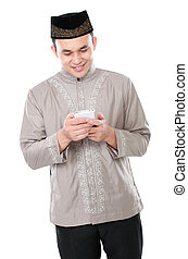 telefono mobile, musulmano, presa a terra, uomo
