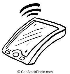 telefono mobile, nero, disegnato, freehand, bianco, cartone animato
