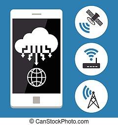 telefono mobile, nuvola, calcolare