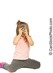 telefono mobile, presa, ragazza, foto
