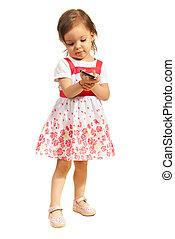 telefono mobile, ragazza, bambino primi passi
