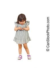 telefono mobile, ragazza, bambino primi passi, eccitato