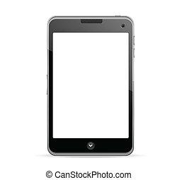 telefono mobile, schermo, vuoto, realistico