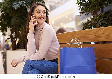 telefono mobile, shopping, parlare, giovane, secondo, grande