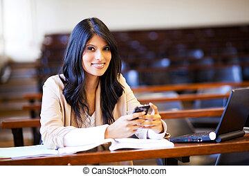 telefono mobile, studente università, corridoio conferenza