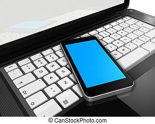 telefono mobile, su, uno, laptop