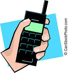 telefono mobile, tenendo mano