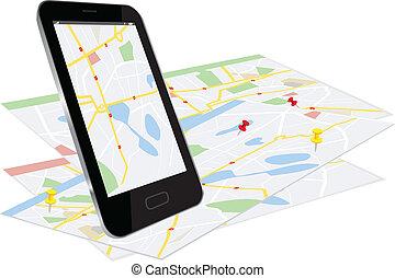 telefono, navigazione, sistema, far male