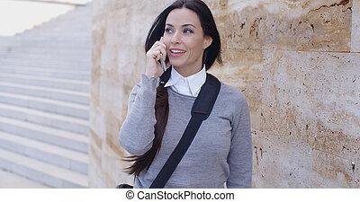 telefono parete, maglione, donna, ridere