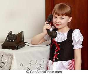 telefono., poco, vecchio, oscillazione transitoria, ragazza
