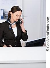 telefono, presa, chiamata, receptionist, far male