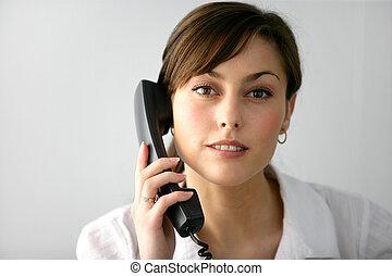 telefono, presa, donna, chiamata