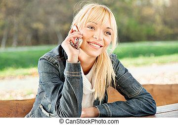 telefono, presa, donna, parco, chiamata