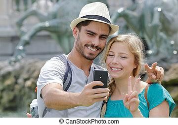 telefono, presa, ritratto, coppia, stesso, far male