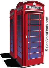 telefono, pubblico, londra, box., rosso, vect