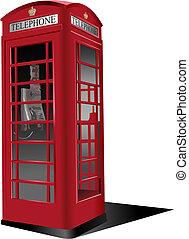 telefono, pubblico, londra, box., vettore, rosso, ...